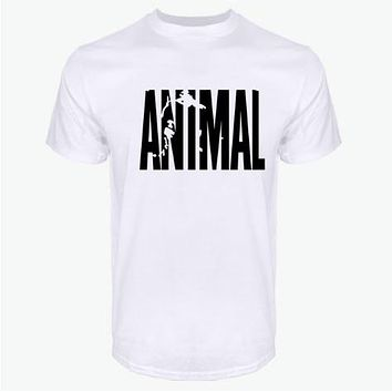 hot ANIMAL T Shirt men cotton round collar muscle exercise fitness strong and handsome