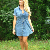 Denim tie waist dress