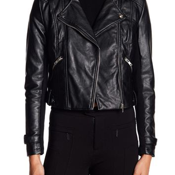 Romeo & Juliet Couture | Faux Leather Asymmetrical Zip Jacket | HauteLook