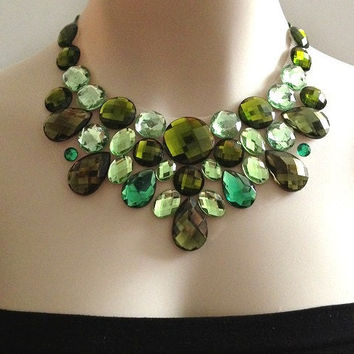 green bib necklace - olive green, L.green and emerald green bib unique necklace, bridesmaids, prom statement necklace