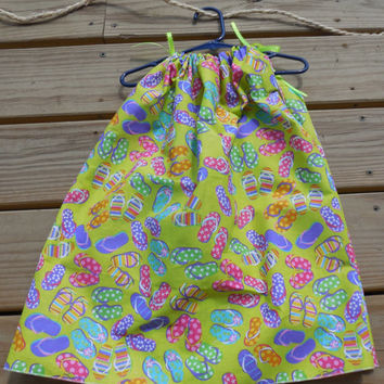 Girls Pillowcase Dress, Summer Flip Flops Print with Yellow Green Ties, Toddler Size