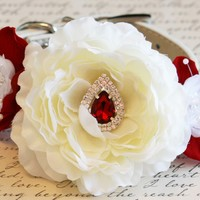 Red Floral Wedding dog collar, Red and Ivory wedding, Red Ruby wedding ideas