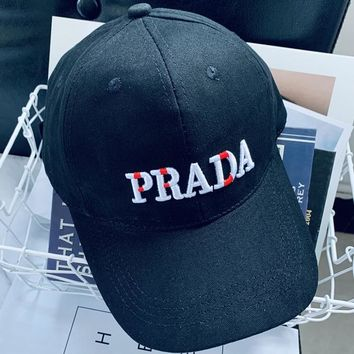 Prada Women Men Sport Sunhat Embroidery Baseball Cap Hat