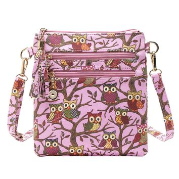Canvas Owl Print Messenger Crossbody Zipper Bag