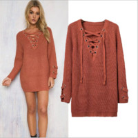 Lace Drawstring Knitted Sweater B0014451
