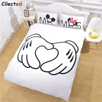 Cilected White Cartoon Couple Wedding Bedding Set Mr & Mrs Soft Polyester Duvet Cover Pillowcases 3Pcs For Couple Drop Shipping