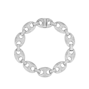 Iced Out Gucci Link Sterling Silver Bracelet