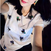 2017 new brand spring summer fashion loose sexy letter lips Print T-shirt embroidered Bee bead sequins tops leisure bee T-shirt