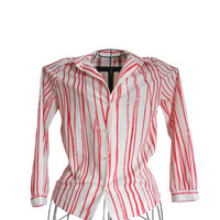 Vintage Blouse White with Red Orange Stripes- Graff Californiawear