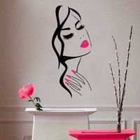 Wall Decal Beauty Salon Manicure Nail Salon Hand Girl Face Vinyl Sticker Home Decor Hairdresser Hairstyle Wall Sticker M-73