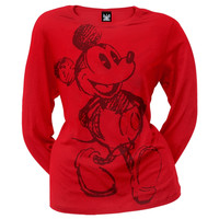 Mickey Mouse - Face Juniors Long Sleeve T-Shirt