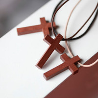 Mens Wooden cross - Mens Leather Necklace - Wood cross - Stunning Wood cross