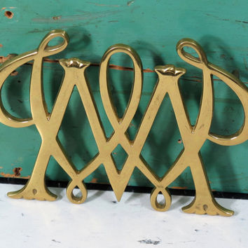 William and Mary Trivet . Solid Brass . Royal Monogram . Williamsburg Virginia . Vintage . College Cypher