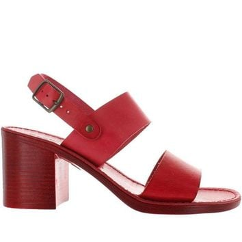 VONES2C Seychelles State Of Mind - Red Leather Wide Band Sandal