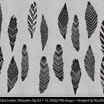 Tribal Feather Silhouettes Clip Art, black feathers clipart, silhouette feather graphics, digital feather collage sheet, Buy 2 Get 1 Free
