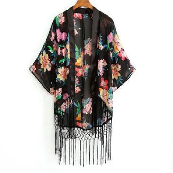European and American Style New Women Tassel Flowers Chiffon Batwing Sleeves Kimono Cardigan = 5617153473