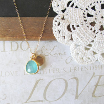 TREASURED hand stamped initial necklace with a milky turquoise rough cut glass crystal (gold)