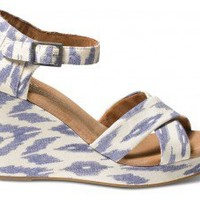 Blue Ikat Women's Sustainable Strappy Wedges | TOMS.com