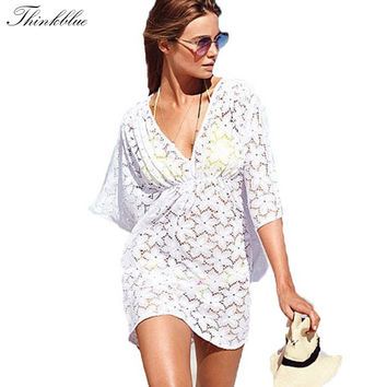 Summer Style Sexy Hollow Lace Floral Beach Cover Up V Neck Batwing Swimsuit Beach Dress Swimwear Bikini Cover Ups