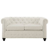 Chesterfield Fabric Loveseat in Beige