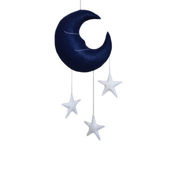 MR SLEEPY MOON and Stars Mobile - Dark Navy Blue Half Crescent Moon with White Stars Mobile Baby Nursery Kids Bedroom Home Decoration