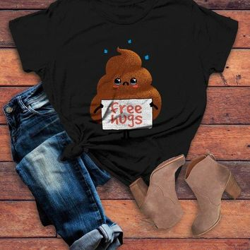 Women's Funny Poo T Shirt Free Hugs Shirt Hilarious Poop Graphic Tee Bad Day Shirts