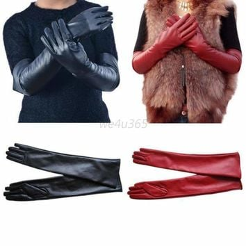 Elegent Lady Women Long Leather Gloves Winter Evening Party Full Finger M-XL