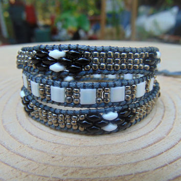 Three Wrap Bracelet With Duo, Miyuki Tila, And Seed Beads