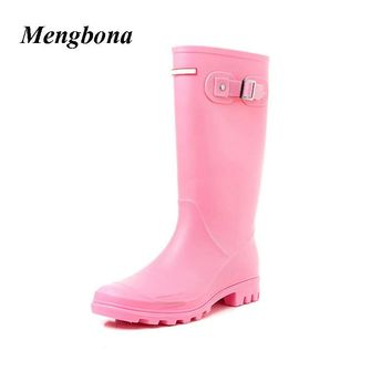 2017 Hot sale Fashion women rainboots waterproof High boots PVC rain shoes botas de ag