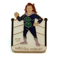 WWF WORLD WRESTLING VINTAGE PIN BUTTON * FABULOUS MOOLAH * RARE FIND!
