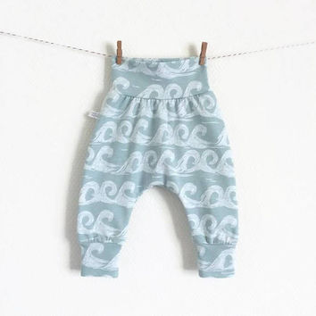 Baby harem pants with waves. Sea foam pants with same fabric waistband and cuffs. Comfortable toddler pants. Jersey knit fabric.