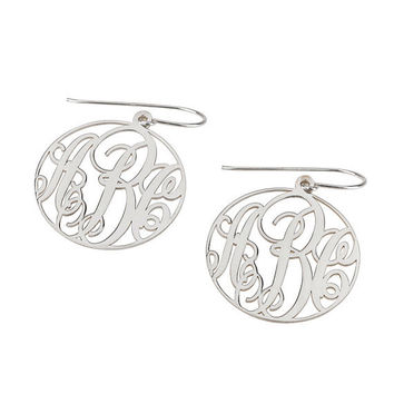 Monogram Earrings- Sterling Silver 1.3'' Circle Dangle Monogram Earrings