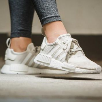 Adidas NMD Runner beige and white couples running shoes