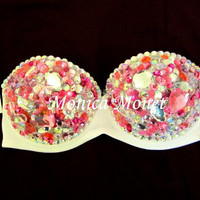 Victoria's Secret Fashion Show Inspired Barbie Sexy Rave Bra Costume Burlesque Sequin Rhinestone Bling Bra