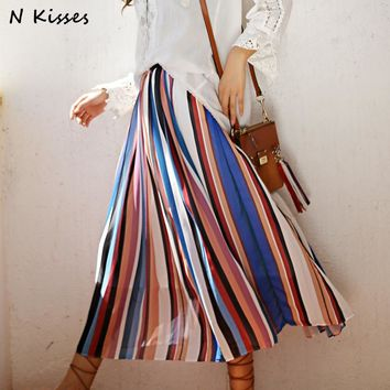 High Quality 2017 Women Summer Boho People Fashion Loose Waist Pleated Bohemian Seaside Stripe Beach Long Maxi Skirt
