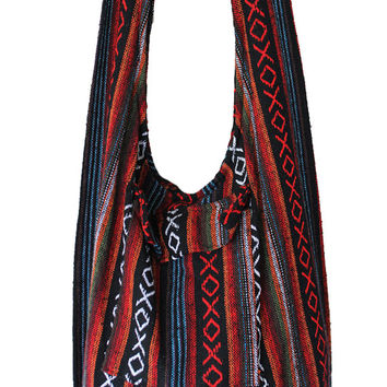 hippie Hobo Bag,tote Bag, boho cotton,large boho,handwoven bag, vegan,shoulder bag, bohemian bag,ethnic bag,gypsy bag,thai bag,women Bag