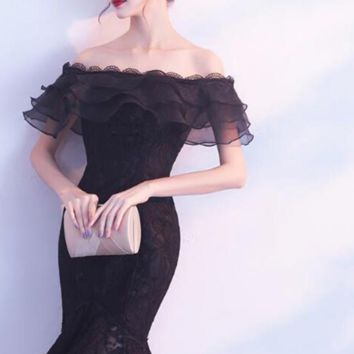 New Lace Cocktail Dress short Party Dresses Formal Prom gowns Fishtail Mermaid Dress