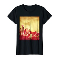 Golden Red Seattle Skyline T-Shirt