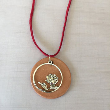 Silver Rose Diffuser Necklace, Essential Oils, Terra Cotta Clay Pendant -  Faux Suede or Satin Cord - Aromatherapy Beauty and the Beast
