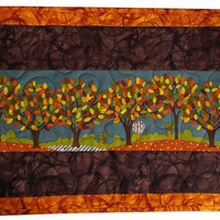Quilted Table Topper or Wall Art of Autumn Trees