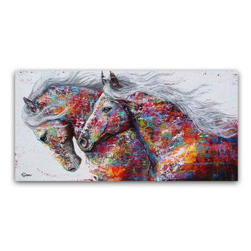 Animal Horse Wall Art Pictures For Living Room Home Decor Canvas Painting Frameless Abstract Wall Art Oil Painting Poster