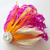 Bridesmaids Hairpiece, Feather Fascinator, Wedding Hairpiece, Ivory ,Pink, Fuschia, Orange, Gatsby Hairclip, 1920s Hairpiece