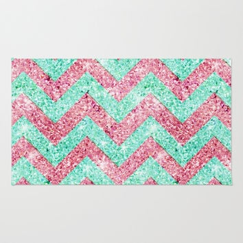 Chevron Pattern, Pink U0026 Teal Glitter Photo Print Rug By Girly Trend