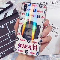 BAPE AAPE Fashionable Women Personality Laser Glass Mobile Phone Cover Case For iphone 6 6s 6plus 6s-plus 7 7plus 8 8plus X XR XsMax White