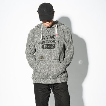 Men's Fashion Winter Simple Design Alphabet Pullover Hats Hoodie [8822223811]
