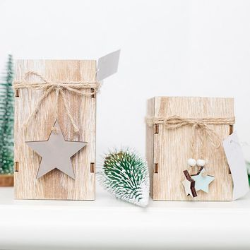 Christmas Candle Holder Wood Candlestick With Hanging Star Home Christmas Tree Decoration for Wedding Party Decor Gift