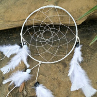 9 inch Dream Catcher, Handmade White Dreamcatcher, White Feathers Wall Hanging, Bedroom Decor, Traditional Native American Decor