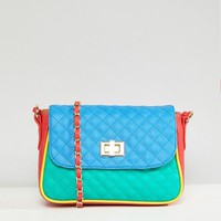 ASOS Color Block Quilted Cross Body Bag at asos.com