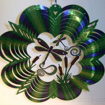 "10"" Dragonfly 3D Twisting Wind Spinner Sparkly Iron Stop Outdoor Indoor Steel"