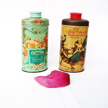 Vintage Dusting Powder Box Avon Collectibles Metal Tins Talc Shakers Tiffany Blue Red Brown